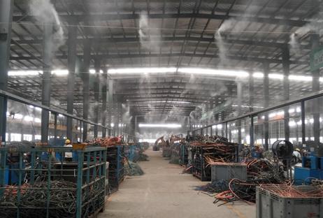 江西某集团废五金剥线车间喷雾降温降尘方案